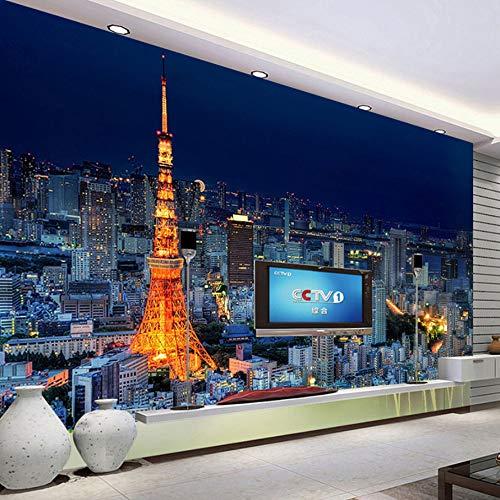 VVNASD 3D Wandbilder Tapete Aufkleber Wand Dekorationen Paris Turm Stadt Gebäude Landschaftsbüro Wohnzimmer Schlafzimmer Dekor Kunst Mädchen Schlafzimmer (W) 400X(H) 280Cm