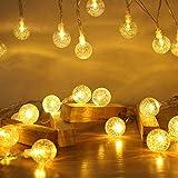 40 LED Lichterkette, ECOWHO 4,4M Warmweiße Kugel Lichterkette Batterie, 8 Modis Ip65 Wasserdicht Lichterketten für Zimmer, Lichterkette Außen für Ihnen, Balkon, Outdoor, Halloween & Weihnachen Deko