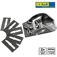 Cepillo de carpintero Manual para Madera /Made in Germany/ 85 mm con 5 cuchillas de repuesto - Maquinilla de mano para Madera