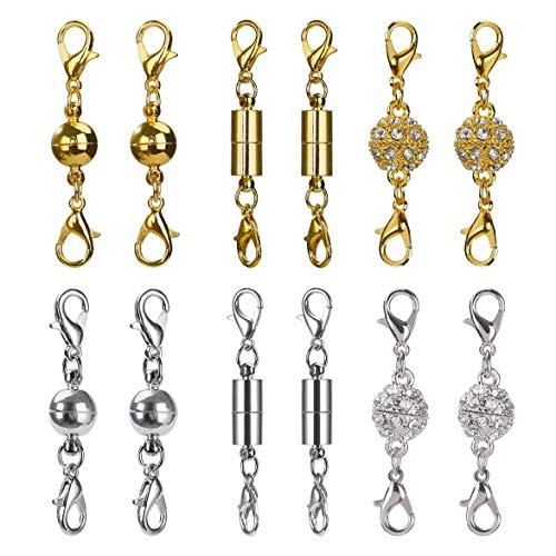 Magnetici catenacci chiusure di aragosta magnetica per la collana del braccialetto gioielli decor, strass palla stile, cilindrico e palla tono (argento e oro) 12 pezzi