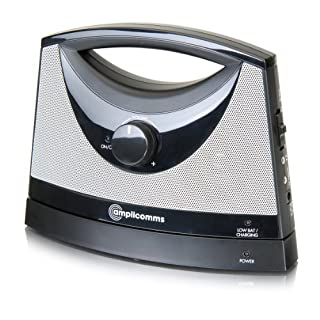 amplicomms TV SoundBox, schnurloser TV Lautsprecher,  95 dB separate Lautstärkeregulierung, 3-fache Toneinstellung bis 30m Reichweite