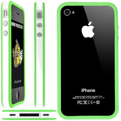 Horny Protectors Bumper für Apple iPhone 4 rosa/weiß mit Metallbutton weiß/grün