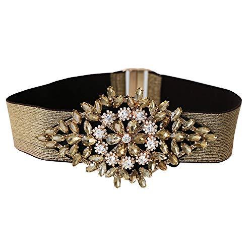 Sweet Deluxe Stretchgürtel Glamour, Gold/Crystal I Schmuckset für Damen I Modeschmuck Set für Frauen I modisches Design Accessoires Set