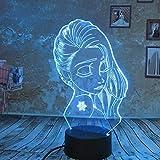 WangZJ 3d Illusion Lampe / 3d Nachtlicht / 7 Farben Touch/Schlafzimmer Nachttischlampe/Baby Schlafzimmer Dekoration/Mädchen Prinzessin