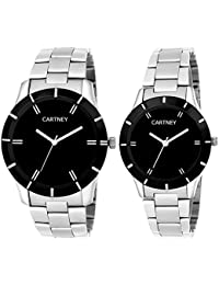 CARTNEY Solid Analogue Black Dial Men And Women Watch (Couple Watch) - CTPAR-1
