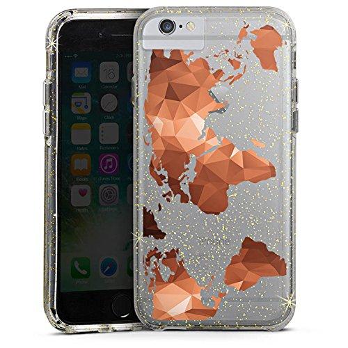 Apple iPhone 7 Bumper Hülle Bumper Case Glitzer Hülle Weltkarte ohne Hintergrund Worldmap Karte Bumper Case Glitzer gold