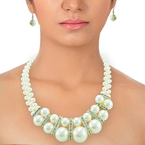 PCM Three Line Strings Real Pearls Necklace Set For Women  available at amazon for Rs.199