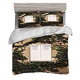 Set copripiumino (240 x 260 cm) con 2 federe Decor persiane Biancheria da letto con stampa digitale Otturatore culturale antico in legno mediterraneo circondato da Ivy Image Print, Ecru White Green Ea