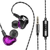 TYWZF Earphones Headphones, Noise Cancelling Bass Stereo Ohrhörer HiFi in Ear Kopfhörer Lauf Sport Kopfhörer mit Mikrofon,Purple