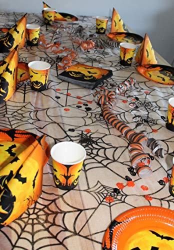 KarnevalsTeufel 6 teiliges Halloween Party Geschirr Set – für 8 Gäste – Partyset beinhaltet gruselige Becher, Teller, Servietten, Dekostoff, Luftschlangen und Konfetti, Plus Gratis Überraschung