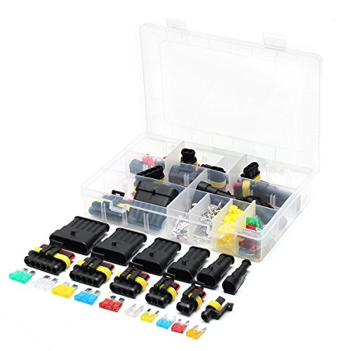 240 stücke Wasserdichte Auto Elektrische Stecker 1/2/3/4/5/6 Pin Way Terminals mit Mini Automotive Blade Sicherungen Mayitr