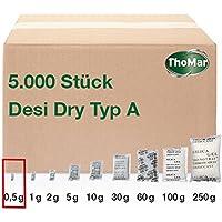 Desi Dry Trockenmittel-Beutel | Silica-Gel | Silika-Gel | karton-verpackt (Industriemenge) | erhältliche Größen: 0,5 g / 1 g / 2 g / 5 g / 10 g / 30 g / 60 g / 100 g / 250 g | staubarm staubdicht
