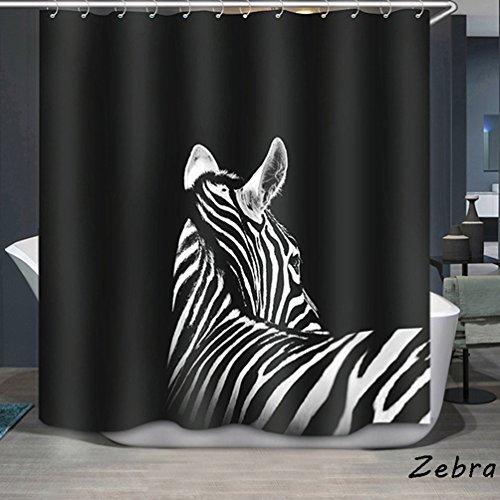 3D Vorhang für die Dusche und Badematten Set, wasserdicht Polyester Tiere Muster Badezimmer Dusche Vorhang (180 x 180 cm/ 71 * 71 Zoll) (Zebra) (Zebra Tier Vorhang-set)