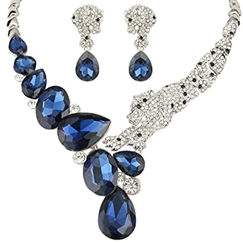 EVER FAITH® Austrian Crystal Fashion Leopard Necklace Earrings Set Silver-Tone Blue A13172-9