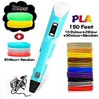 DEWANG 3D Pen, 3D Drawing Printing Printer Pen Bonus 150 Feet 12 Colors(2 Glow)+3 Colors Random PLA Filament Refills, LCD Display 3D Drawing Stencils Perfect Gift Art Crafts for Kids & Adults