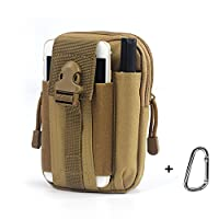 Waterproof Oxford OutDoor Sports Military Army MOLLE Tactical Camping Hiking Pouch Purse Mobile Phone Running Wallet Money Fanny Travel Pack Waist Bum Belt Bag with Adjustable Belt (Khaki)