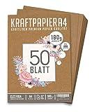 Premium papel de estraza A4 de 180 g - 21 x 29,7 cm - Formato DIN - Papel de manualidades & cartón natural hojas de cartón kraft para manualidades para papel de cartón vintage boda regalos y etiquetas