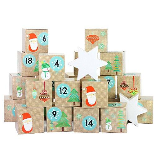 Papierdrachen DIY Adventskalender Kisten Set – Weihnachtsmann - 24 bunte Kisten zum Aufstellen und zum selber Befüllen - 24 Boxen