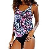 AHOOME bademode damen große größen ,damen Bikini-Sets Oversize Blume Tankini Set(PINK XXL)