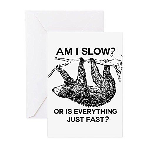CafePress - Faultier Am I Slow? - Grußkarte, Notizkarte, Geburtstagskarte, blanko Innenseite matt