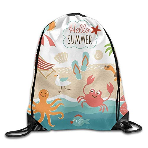 Etryrt Mochilas/Bolsas de Gimnasia,Bolsas de Cuerdas, Summer Drawstring Backpack Travel Bag Gym Outdoor Sports Portable Drawstring Beam Port Backpack For Girl Boys Woman Female