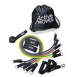 ActiveMoves Resistance Bands Set mit Trainingsbänder bis zu 47,5 kg Widerstand