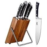 Cuchillos Cocina, Aicok Juegos de Cuchillos Profesional, Cuchillos Acero Inoxidable, Set Cuchillos Cocina. Incluye 5 Piezas de Cuchillo de Cocina y un Bloque de Madera
