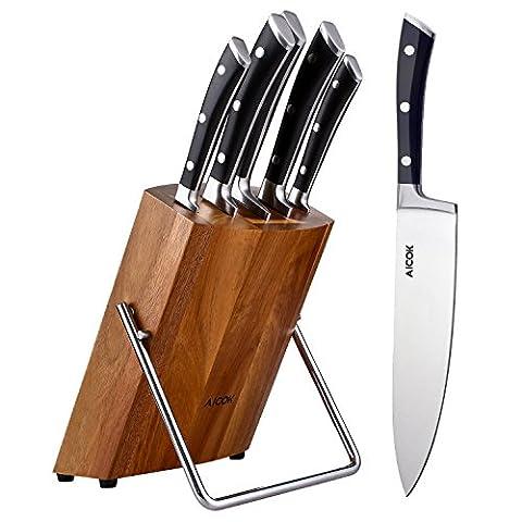 Aicok Eensemble de blocs à couteaux professionnel Aicok, bloc en bois, 6 pièces, bloc de couteaux en acier inoxydable à haute teneur en acier avec support en bois, noir