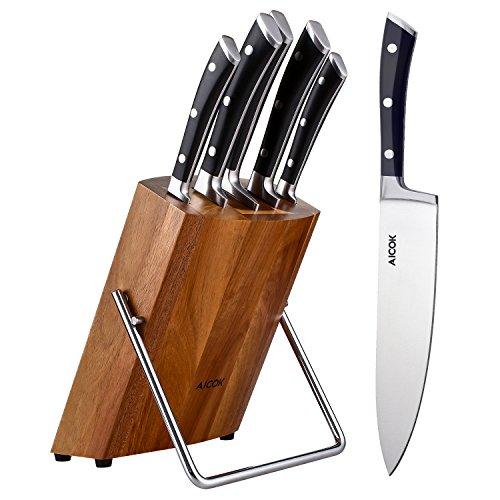 Aicok USAFF91066, set di coltelli da cucina in acciaio inox da 5 pezzi più ceppo