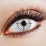 aricona Farblinsen weiße Halloween Kontaktlinsen mit Motiv | bunte farbige Jahreslinsen für ein Zombie Jäger Kostüm & Faschingskostüme