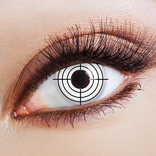 eiße Halloween Kontaktlinsen mit Motiv | bunte farbige Jahreslinsen für ein Zombie Jäger Kostüm & Faschingskostüme (Polizist Halloween-kostüm-make-up)