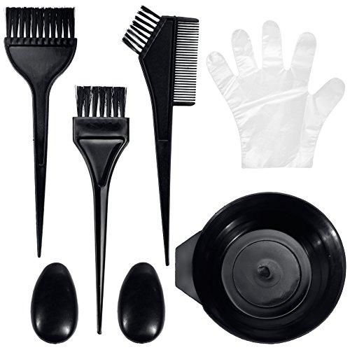 Lictin Décoloration des Cheveux, Peigne Pinceau Brosse Bol Coiffe de l'oeille et Gants Pour Coloration Cheveux Teinture Décolorante Coiffure-Noir