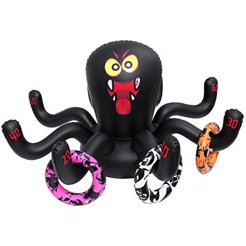 Amosfun Aufblasbare Spinne Ring Toss Set Halloween Dekoration Party Spiel Urlaub Spielzeug Halloween Geschenke Weihnachten Geburtstagsgeschenk für Kinder 125 x 70 cm