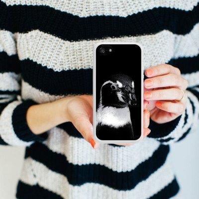 Apple iPhone 5s Housse étui coque protection Pingouin Oiseau Noir et blanc Housse en silicone blanc