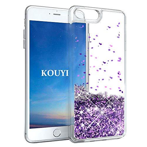 s Hülle Glitzer, Luxus Fließen Flüssig Glitzer 3D Bling Dynamisch Silikon Weich Flexible TPU Kreativ Shiny Glitter Cover Beschützer für Apple iPhone 8 Plus/iPhone 7 Plus (Lila) ()
