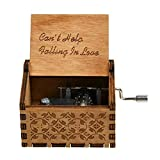 Syfinee Vintage Music Box Engraved Wooden Hand Crank Music Box Mom Dad Love Birthday Gift