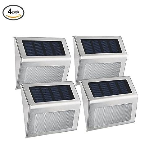 Websun Solar Step Lights 3 Led Wireless wasserdichte Edelstahl Solar Powered Treppenlicht Outdoor Beleuchtung für Deck Patio Pfad Zaun (4-Pack)