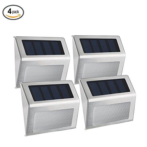 Deck Teich (Websun Solar Step Lights 3 Led Wireless wasserdichte Edelstahl Solar Powered Treppenlicht Outdoor Beleuchtung für Deck Patio Pfad Zaun (4-Pack))