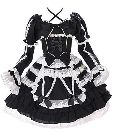 JL-643-1 schwarz Chiffon Rüschen Spitze langarm / kurzam Kleid Victorian Classic Gothic Lolita Kostüm Cosplay Kawaii-Story (Gr. M)