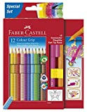 Faber-Castell 201351 - Buntstift Colour Grip, Promotionetui 2016, inklusive 2 Connector Pen