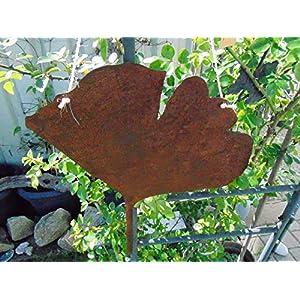 Edelrost Hänger Ginkgoblatt groß Gartendeko 38 x 34 cm