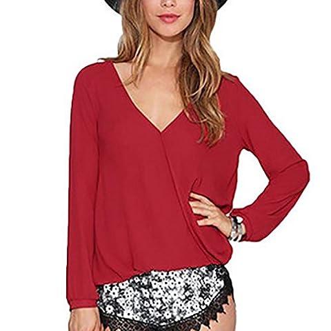 Honghu Femme en Vrac Mousseline de Soie Manches Longues V-Neck V-cou T-shirt Taille S Rouge Foncé