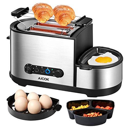 Aicok Toaster, 4 in 1, Multifunktions-Toaster aus Edelstahl mit Mini-Pfanne, Eierkocher, Dampfgarer, 2 extra große Schlitze, 7 Bräunungsstufen, BPA-frei, 1250 W, Silber