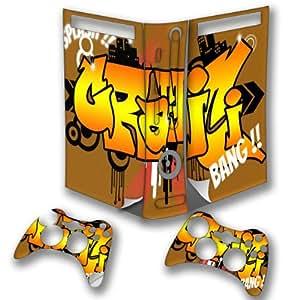 Graffiti Splash, Autocollant Skin Peau Vinyl avec Motifs Colorés et Effet de Cuir pour XBOX 360 Fat