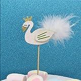 Abenily Kleine und praktische Lebensgegenstände Bling Swan Crown Cake Topper mit Feder Kuchen Dekoration Hochzeit Geburtstag Party Schöne Geschenke, schöne weiße Farbe Schwan