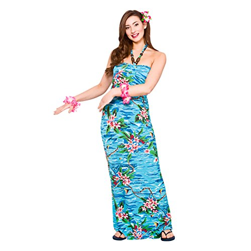 Kostüm Fancy Dress Lady - Ladies Maxi Orchid Ocean Dress Hawaiian Luau Fancy Dress Party Costume Outfit