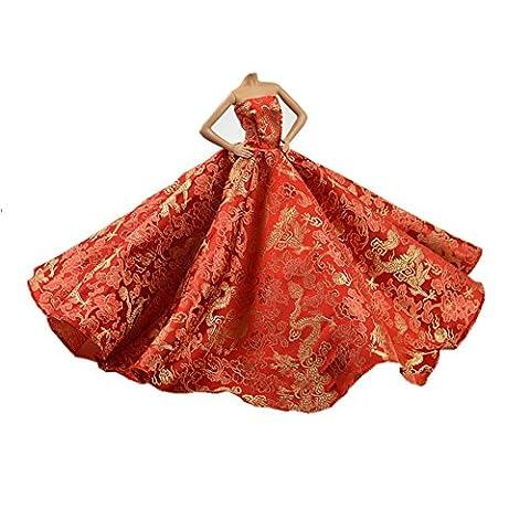 Youvinson Verschiedene Handmade Brautkleider und Kleider für Barbie-Puppen (Rote Farbe)