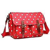 Miss Lulu Womens Oilcloth Satchel Bag Polka Dot Red L1107D2 RD