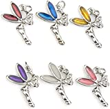 Fairy Charms - Enamel and Silver Plated - Set of 6