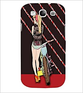 PrintDhaba Bike Girl D-4756 Back Case Cover for SAMSUNG GALAXY S3 (Multi-Coloured)
